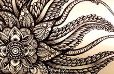 """I'm officially in love with zentangle drawings but, myself I'm just beginning to learn how to make my """"art"""" look so perfect. Zentangle isn't suppose to be perfect. Zentangle Drawings, Zentangle Patterns, Art Drawings, Zentangles, Doodle Inspiration, Image Mandala, Jagua Henna, Tattoo Henna, Architecture Sketches"""