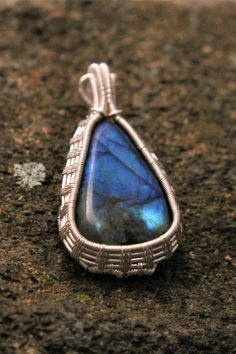 Labradorite Teardrop Pendant with Pure Silver Fern Leaf Wire Wrap; Stone is Hand Cut and Polished by WanderingRockDesigns $63.75