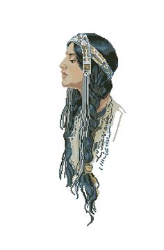 Indian maiden with long hair 1 of 4 Native American Patterns, Native American Design, Cross Stitching, Cross Stitch Embroidery, Cross Stitch Patterns, Cross Stitch Angels, Native Indian, Knitting Socks, Beading Patterns