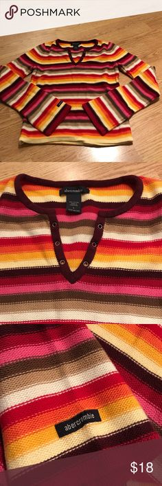 Abercrombie Rainbow striped v neck sweater large Kids large v neck rainbow sweater pinks and browns abercrombie kids Shirts & Tops Sweaters