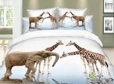Giraffe elephant print bedding set queen size bedspread duvet quilt cover bed in a bag sheets bedroom linen deer cotton