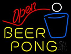 Beer Pong Open Neon Sign 24 Tall x 31 Wide x 3 Deep, is 100% Handcrafted with Real Glass Tube Neon Sign. !!! Made in USA !!!  Colors on the sign are Red, White, Blue and Yellow. Beer Pong Open Neon Sign is high impact, eye catching, real glass tube neon sign. This characteristic glow can attract customers like nothing else, virtually burning your identity into the minds of potential and future customers.