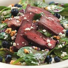 Spinach Salad with Steak & Blueberries