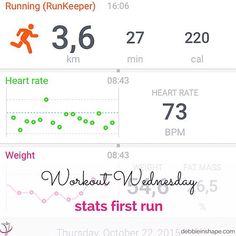 Workout Wednesday: here's a print screen from Withings. I used RunKeeper to track my running and it synched with the data from my scale. Awesome isn't it?  I haven't been able to run the past days because of some major headache. But yesterday I did an awesome 4-minute workout with @itsshawndotcom on #Periscope and I loved it. I have to admit that I couldn't do the burpees yet (too much for my brains) but I had a great time. You have to check her broadcasts!  #workoutwednesday #runchat…