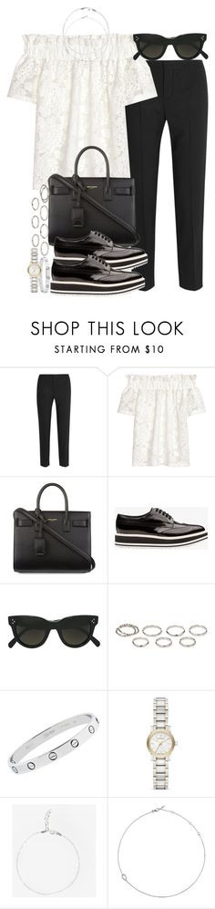 """Sin título #4247"" by hellomissapple ❤ liked on Polyvore featuring Chloé, H&M, Yves Saint Laurent, Prada, CÉLINE, Akira, Cartier, Burberry and Jack Vartanian"