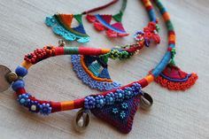 beaded crochet statement necklace - old world - necklace with orange, red, blue and green beaded flowers and cotton fibers by irregular expressions | Flickr - Photo Sharing!