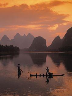 Guilin and Lijang River National Park Lijiang, Sunset Sea, Guilin, Art Japonais, China, Artistic Photography, Travel Posters, Illustration, Beautiful Pictures