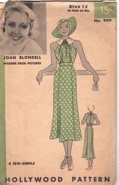 1930s Hollywood 909 Misses Easy Shirred Flared Skirt Dress with Long Open Back womens vintage sewing pattern Warner Bros Joan Blondell Pattern by mbchills