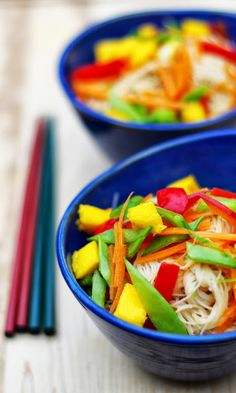 Within the Kitchen: Thai Rice Noodle Salad with Peanut Sauce Dressing- I might add chicken or shrimp to make this an entree salad.