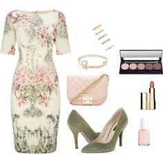 Wedding Party by curvynene on Polyvore featuring moda, Adrianna Papell, Chinese Laundry, Forever 21, Lipsy, Clarins and Essie
