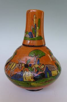 "Vintage Mexican Tonala Tlaquepaque water jug bottle w/cup 9 1/4"" tall"