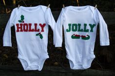"""Holiday """"Holly & Jolly"""" Bodysuit set for twins (or siblings), great Christmas gift for TWINS"""