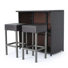 Toronto Outdoor 3-piece Wicker Bar Island Set by Christopher Knight Home (Multi-Brown), Brown, Size 3-Piece Sets, Patio Furniture (Iron)