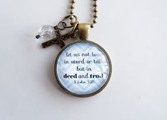 Scripture Necklace  1 John 3:18  Christian Jewelry by OxfordBright