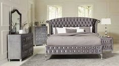 This fully upholstered Deanna Bedroom Set by Coaster Furniture will instantly transform any bedroom into an instant fantasy getaway. The group features properly tufted upholstered bed and matching pieces, faceted buttons in a special opalescent grey spark Bedroom Dresser Sets, Bedroom Furniture Sets, Home Furniture, Bedroom Decor, Coaster Furniture, Gray Bedroom, Queen Bedroom, Dresser Mirror, Master Bedroom