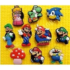 Set of 10 Nintendo Super Mario Brothers Shoe Charms, Shoe Snap on Decorations, Charms, Buttons, Widgets, for Clogs, Crocs, Bracelets and More Featuring Princess Peach, Yoshi, Wario, Luigi, and Goomba
