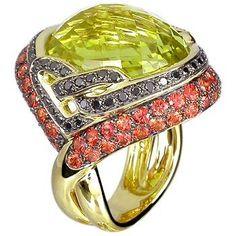 18K Yellow Gold Ring set with Lemon Quartz, Orange Sapphire and Black Diamond
