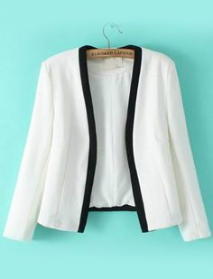 Contrast Trims Crop White Blazer