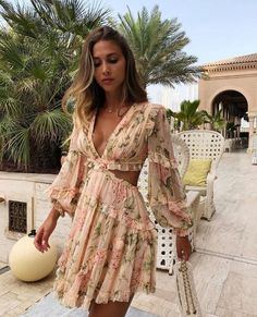 designer floral dresses for women strappy mini dress with hem at the bottom cheekie summer bodycon front cutout strappy chiffon cocktail dress long sleeve Boho Mini Dress, Silk Mini Dress, Floral Dress Design, Floral Dresses, Bella Dresses, Mini Dresses, Blessed, Necklines For Dresses, Cutout Dress