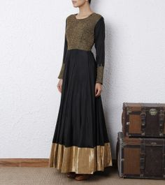 Black Silk Anarkali Dress.
