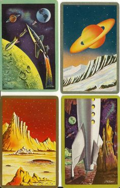 4 Vintage 30's or 40's Outerspace SHIP Planet Travel | eBay