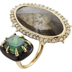 Alexis Bittar Cocktail Ring ($185) ❤ liked on Polyvore featuring jewelry, rings, gold, cocktail rings, alexis bittar rings, statement rings, oversize rings and oversized jewelry