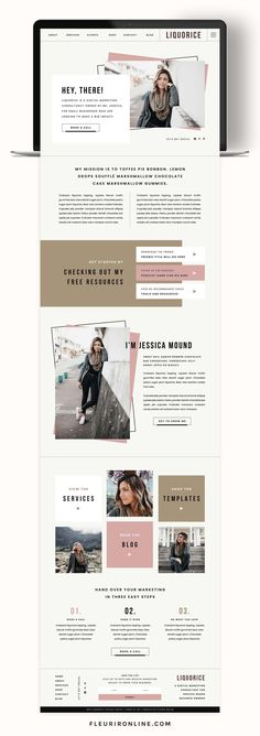 Liquorice is a modern Showit website template for coaches and creatives. Includes a Showit sales page template for your course or membership. Layout Design, Website Design Layout, Web Layout, Ux Design, Blog Layout, Personal Website Design, Blog Website Design, Flat Design, Email Layout