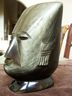 """Hand Carved Gold Sheen Obsidian Aztec Bust  -- Large 8 and 7/8"""" high -- One of A Kind by RobertsXclusiveGifts on Etsy"""