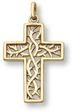 ApplesofGold.com - Crown of Thorns Cross Pendant, 14K Yellow Gold