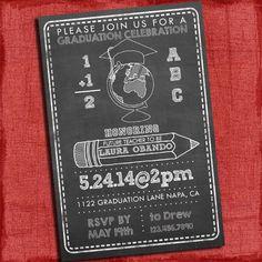 Chalk style Teacher Graduation Party Invitation Chevron Style 4x6 or 5x7 - Printable