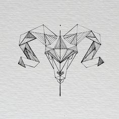 Graphic & Communication Design Geometric Ram Illustration Irish Black and White Scribble by Anna Haury Aries Art, Capricorn Tattoo, Geometric Tattoo Ram, Tattoo Abstract, Body Art Tattoos, Sleeve Tattoos, Tattoo Homme, Widder Tattoos, Ram Tattoo
