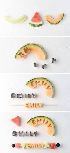 DIY name letter fruit kabobs for kids! Perfect for a smaller birthday party! DIY name letter fruit kabobs for kids! Perfect for a smaller birthday party! Cute Food, Good Food, Yummy Food, Kebab, Snacks Für Party, Diy Party Food, Kid Snacks, Summer Diy, Creative Food