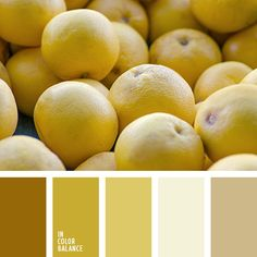 Colour composition consisting of warm sunny colors. Lemon yellow, mustard shades tuned to feel optimistic. Grey in conjunction with such tones loses its rigor. White adds space and light. The palette is perfectly applicable to the design of the kitchen or living room. The bathroom looks good only in the form of bath towels, robes, soft rugs.