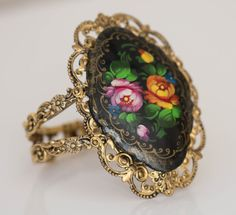 Antique Gold and Russian Painting Bracelet - thoughtfully picked at fairejour