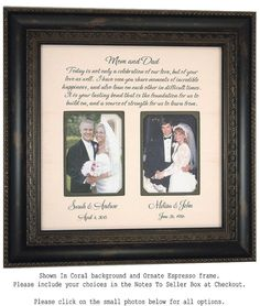 Wedding Frame Mother of the Bride Parents by PhotoFrameOriginals