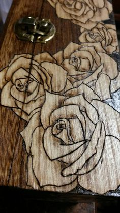 Wood Rose Box. Wood burned box. Pyrography Wood. by TrueJoyStudio