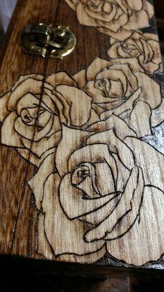 Wood Rose Box. Wood burned box. Pyrography Wood. by TrueJoyStudio