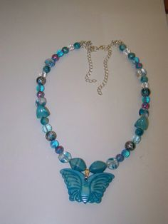 OOAK   Blue Combo Butterfly Necklace by LillyBeadsDesigns on Etsy, $25.00