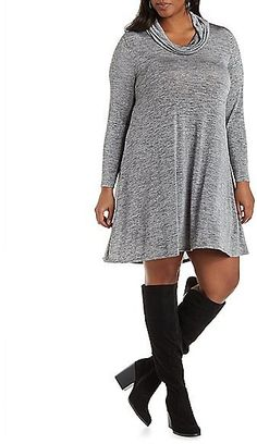 Plus Size Marled Cowl Neck Shift Dress