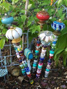 Items similar to Plant Jewels ~ Fairy Garden Wands ~ Garden Decor - Gift - Whimsical Art - Wand - Garden Ornament - Garden Art - Gift for Her - Gift for HIm on Etsy - Modern Design Garden Totems, Glass Garden Art, Garden Stakes, Diy Garden, Garden Crafts, Garden Ideas, Garden Whimsy, Amazing Gardens, Beautiful Gardens