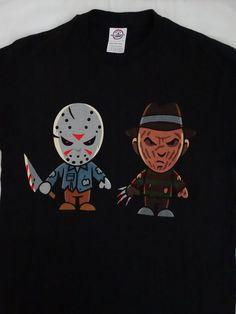 Freddy Krueger and Jason Voorhees Cartoon T-Shirt #FreddyKruegerJasonVoorhees #GraphicTee