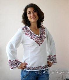Ukrainian V-neck embroidered blouse