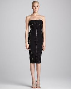Studded Strapless Dress by Herve Leger at Neiman Marcus.