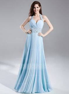 Prom Dresses - $142.99 - A-Line/Princess Halter Floor-Length Chiffon Prom Dress With Beading Pleated (018015852) http://jjshouse.com/A-Line-Princess-Halter-Floor-Length-Chiffon-Prom-Dress-With-Beading-Pleated-018015852-g15852