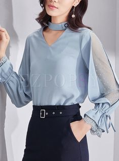 Shop Chic Mesh Splicing Flare Sleeve V-neck Slim Blouse at EZPOPSY.Outfits that will give you confidence and style Kurti Sleeves Design, Sleeves Designs For Dresses, Sleeve Designs, Blouse Styles, Blouse Designs, Moda Chic, Blouse Outfit, Mode Hijab, Fashion Sewing