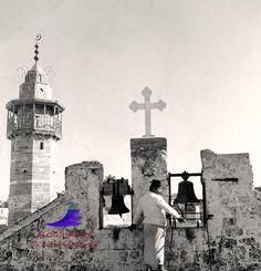 المسجد العمري، والكنيسة الأرثوذكسية. غزة، فلسطين. ١٩٣٤. Omari mosque, and the Orthodox Church. Gaza, Palestine. 1934. Mezquita Omari, y la Iglesia Ortodoxa. Gaza, Palestina. 1934.