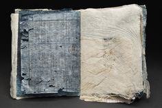 Yuko Kimura Sample Book, 2014 Indigo dye, persimmon dye, etching, aquatint, copper etching foil, Kozo Bark fiber, abaca, kozo, denim- handmade paper, worm eaten old bookpages from Japan, paper...