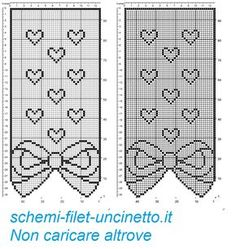 Curtain with bow and hearts filet patten Crochet Bow Pattern, Free Crochet Doily Patterns, Crochet Cape, Filet Crochet Charts, Crochet Bows, Crochet Curtains, Crochet Doilies, Cross Stitch, San Michele