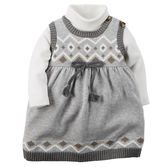 She's prepped for the holidays in sweater-knit fair isle and a turtleneck. Pair this cute 2-piece set with tights and sparkle flats for a festive look!<br>