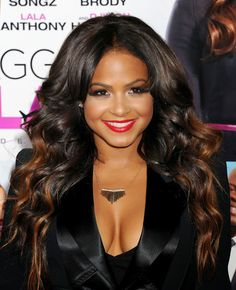Christina Milian All Dressed Up and Showing Some Cleavage Black Hairstyles With Weave, Weave Hairstyles, Pretty Hairstyles, Straight Hairstyles, Christina Milian, Beautiful Celebrities, Beautiful Actresses, Look Kim Kardashian, Langer Bob